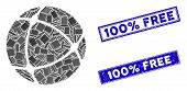 Mosaic Internet Sphere Pictogram And Rectangular 100 Percent Free Stamps. Flat Vector Internet Spher poster