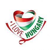The National Flag Of The Hungary And The Inscription I Love Hungary. Vector Illustration poster
