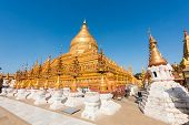 Shwezigon Pagoda is one of the oldest sacred golden buddhist pagoda in Myanmar. Town of Nyaung-U nea poster