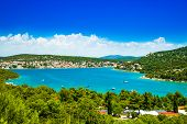 Beautiful Croatian Coast, Murter Island Archipelago And Town Of Tisno, Dalmatia Croatia poster