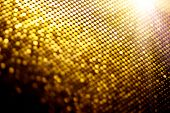 Abstract gold particle background, backdrop with glowing golden dots, hi-tech concept, yellow color  poster