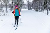 Cross Country Skiing - Woman With Skis On Snowy Forest Ski Track. Akaslompolo, Finland poster