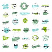 Organic Food, Farm Fresh And Natural Product Icons And Elements Collection For Food Market, Ecommerc poster