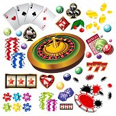 The set of  casino elements or icons including roulette wheel, playing cards, chips, dice  and more