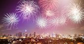 Exotic New Year - Celebrating the New Year in Bangkok with fireworks poster