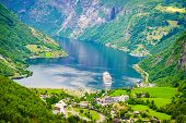 Fjord Geirangerfjord With Cruise Ship, Norway. poster