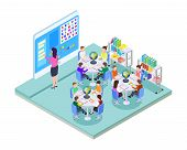 School Room. Elementary School Class Location. Isometric Classroom Interior. Young Students And Teac poster