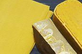 Pieces Of Natural Bees Wax. Blocks Of Yellow Wax. poster