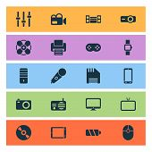 Gadget Icons Set With Fan, Floppy Disk, Phone And Other Fax Elements. Isolated Illustration Gadget I poster