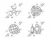 Chemical Hazard, World Medicine And Eco Energy Line Icons Set. Medical Vaccination Sign. Toxic, Onli poster