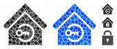 Home Login Mosaic Of Round Dots In Various Sizes And Color Hues, Based On Home Login Icon. Vector Ro poster