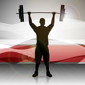 pic of weight lifter  - Silhouette of a weight lifter with heavy weight on abstract red wave background - JPG
