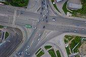Aerial View Of Crossed Road, Crossroads, Car Traffic And Crosswalk With White Stripes In The City Am poster
