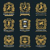 Heraldic Animals, Royal Heraldry Emblems, Pegasus Horse, Griffin Lion And Medieval Eagle Icons. Vect poster