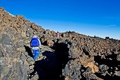 Happy Children Descend From The Teide Volcano In The Canaries, Petrified Lava, Lava Valley, Natural  poster