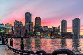 Boston Skyline And Fort Point Channel At Sunset As Viewed Fantastic Twilight Or Dusk Time From Fan P poster