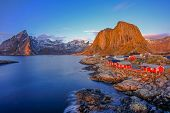 Classic View Of Hamnoy At Blue Hour, Near Reine On Lofoten Islands, Norway, Scandinavia, Europe poster