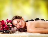 stock photo of bamboo  - Spa Stone Massage - JPG