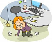 Illustration of a Woman Kneeling down and Tidying up her messy cubicle