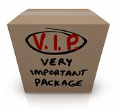 A cardboard box shipment with the words VIP Very Important Package written on it to represent the ur