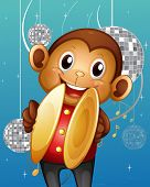 Illustration of a monkey with cymbals in a disco house
