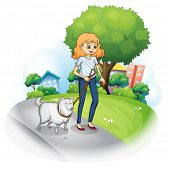 stock photo of stroll  - Illustration of a lady strolling with her dog on a white background - JPG