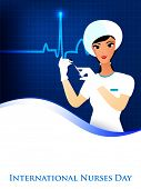 foto of florence nightingale  - International nurse day concept with illustration of a nurse on wave background - JPG