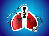 stock photo of exhale  - World asthma day background with lungs and stethoscope - JPG
