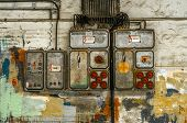 image of fuse-box  - Industrial fuse box on the wall closeup photo - JPG