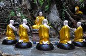 A group statue with Buddha and his students, Marble mountains, Vietnam
