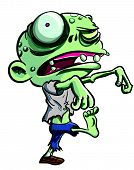 stock photo of skeletal  - Cartoon illustration of a ghoulish undead green zombie in tattered clothing with big eye  - JPG
