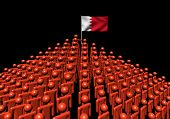 Pyramid of abstract people with Bahrain flag illustration