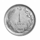 stock photo of lira  - 1 Turkish Lira Old Coin 1959 Tail - JPG