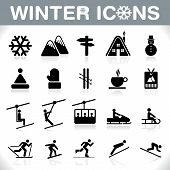 stock photo of snow capped mountains  - Winter Icons Set  - JPG