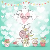 Stylish romantic card. Cupcakes, pigeon and bouquet in romantic vector invitation card. Cute vintage