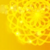 picture of mehendi  - Yellow background with round sunny ornament - JPG