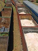 picture of nonrenewable  - Freight trains of metal profile and sulfur on a rails - JPG
