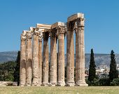 foto of olympian  - The Temple of Olympian Zeus also known as the Olympieion or Columns of the Olympian Zeus is a colossal ruined temple in the centre of the Greek capital Athens that was dedicated to Zeus king of the Olympian gods - JPG