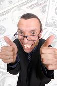 picture of feeling stupid  - young business man playing silly over white background - JPG