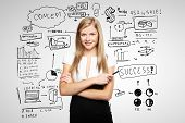 stock photo of seminar  - woman and business plan concept on wall - JPG