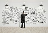 stock photo of interior sketch  - businssman drawing business concept on white wall - JPG
