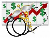 stock photo of rod  - Stethoscope and Rod of Caduceus Medical Symbol with Health Cost Rising Chart on White Background Illustration - JPG