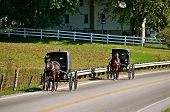 stock photo of buggy  - Horses pulling buggies on highway in amish community - JPG