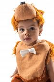 Black Baby Boy,dressed In Furry Teddy Bear Carnival Suit  Isolated On White . The Concept Of Childho poster