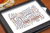 image of cookie  - word cloud of possible core values on a digital tablet with a cup of tea and cookie - JPG