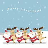picture of christmas claus  - Santa Claus and the reindeer - JPG