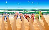 pic of sunburn  - Female legs in colored flip flops against the sunny beach - JPG