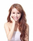 pic of sunburn  - Beautiful woman face isolated on white background concept for skin care and sun block asian beauty - JPG