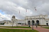 stock photo of amtrak  - Union Station in clouds  - JPG