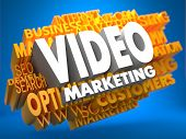 image of yellow  - Video Marketing on White Color on Cloud of Yellow Words on Blue Background - JPG